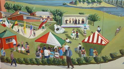 a colorful mural featuring people, trees, and tents in a park