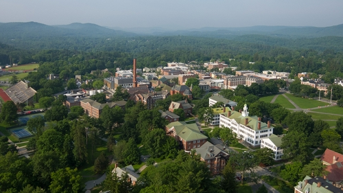an aerial view of campus in the summer